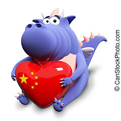 Blue dragon and big heart with Chinese flag, isolated on white