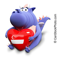 Blue dragon and big heart with Singaporean flag, isolated on white