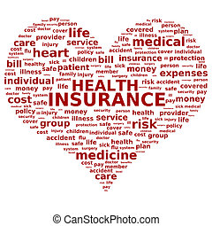 Health insurance. - Health insurance concept. Tag cloud.