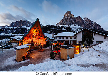 Ski Resort of Corvara at Night, Alta Badia, Dolomites Alps,...