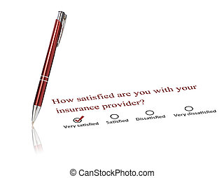 Insurance concept - Pen and checklist isolated over white...