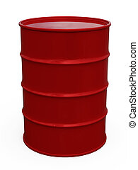 3D red barrel. Isolated white background.