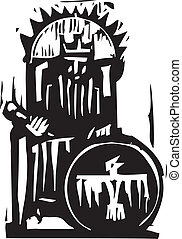 King - Woodcut expressionist style image of a king on a...