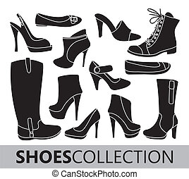 Shoes silhouettes vector collection