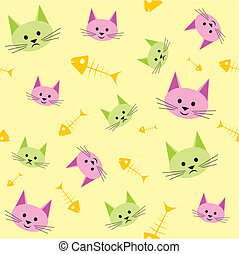 Funny cats - Seamless background with funny cats
