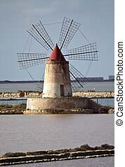 Saltern quinquies - Windmill in the saltern, Marsala, Sicily