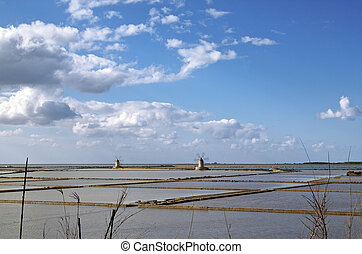 Saltern octies - Marsala saltern with two windmills, Sicily