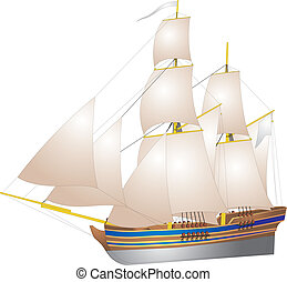 sailing ship - Picture an old sailing ship