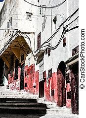 traditionell, arkitektur, marockansk