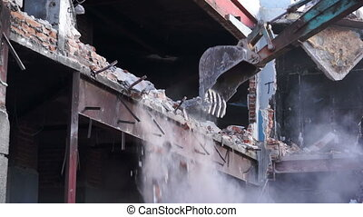 Demolishing Building With Excavator - Close up shot of a...