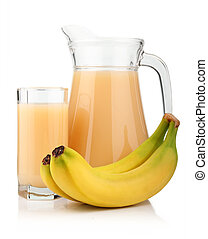 Full glass and jug of banana juice and fruits isolated