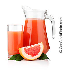 Full glass and jug of grapefruit juice and fruits isolated...