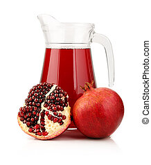 Glass of pomegranate juice with fruits isolated on white...