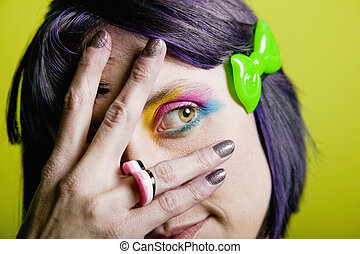Punk woman with bright makeup