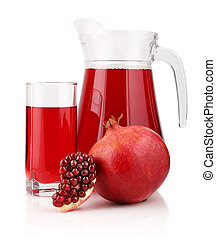 Jug and glass of  pomegranate juice with fruits isolated