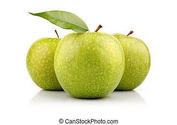 葉, アップル, 隔離された, 3, 緑, 成果, 白