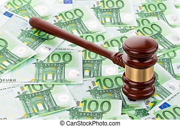 gavel and euro banknotes - a gavel and euro banknotes. legal...