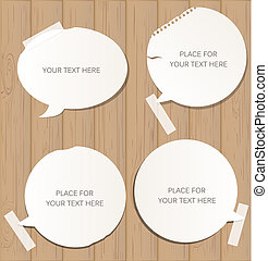 Wooden background with speech bubbles