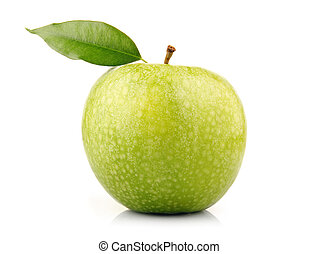 Ripe green apple fruit with leaf isolated on white...