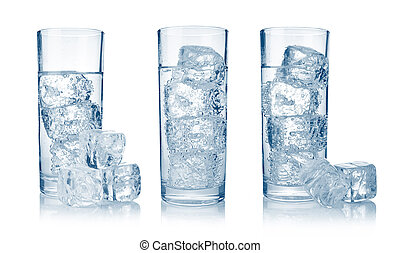 Set of glasses with fresh cool carbonated water and ice...