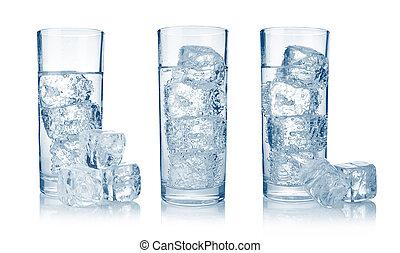 Conjunto, anteojos, fresco, fresco, carbonated, agua, hielo