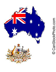 The map, flag and the arms of Australia - silhouette of the...