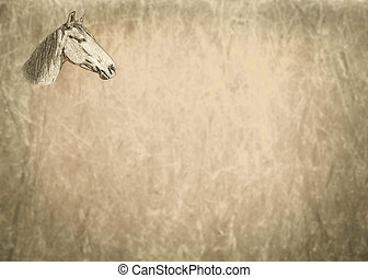 Small Sepia Toned Horse Portrait on Text Page - Small Sepia...