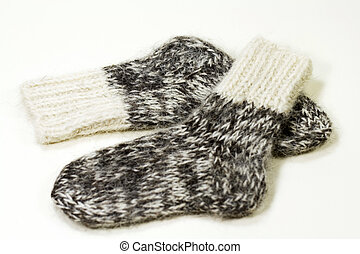 wool knitted socks - two grey wool knitted socks