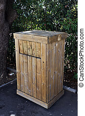 garbage can - wooden planks garbage can on the street