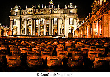 Night shot of Saint Peters basilica, Roma, Italy