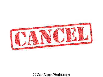 CANCEL red rubber stamp over a white background