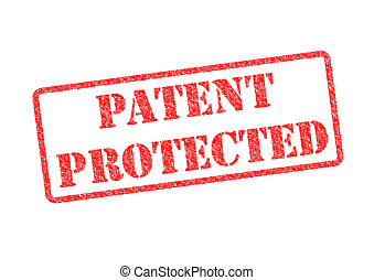 PATENT PROTECTED red rubber stamp over a white background.