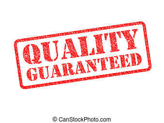 QUALITY GUARANTEED red rubber stamp over a white background