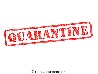 QUARANTINE red rubber stamp over a white background