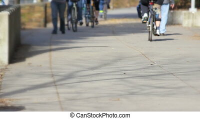 Bicyclists on a Bike Trail - A low shot of bicyclists and...