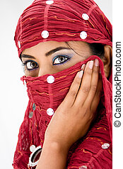 Woman with scarf - Beautiful woman with red head scarf,...
