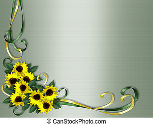 Sunflowers corner Invitation border - Illustration and...
