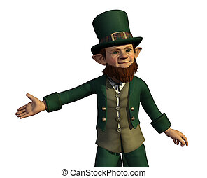 Leprechaun Presents Your Product - A leprechaun proudly...