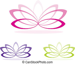 Lotus - Simple line drawing lotus in vector format