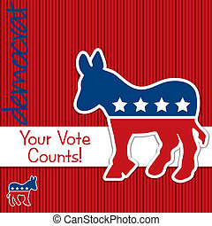 Democrat - Your Vote Counts Democrat election cardposter in...