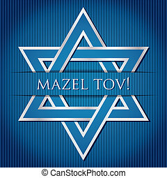 "Mazel Tov - ""Mazel Tov!"" blue star of David card in vector..."