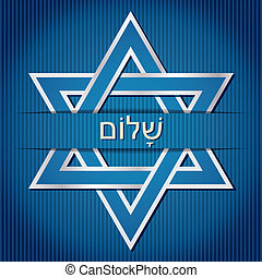 "Shalom - ""Shalom"" Hebrew blue star of David card in vector..."