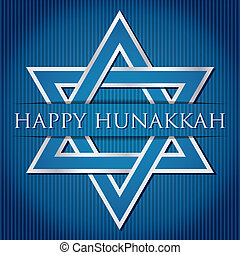 Happy Hanukkah - Happy Hanukkah blue star of David card in...