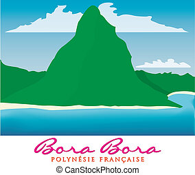 Bora Bora - Otemanu mountain of Bora Bora, French Polynesia...