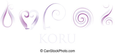 Koru - A set of purple glass Maori Koru curl ornaments.