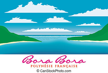 Bora Bora - Reefscape of Bora Bora, French Polynesia in...