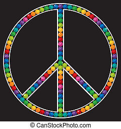 Peace - Sapphire encrusted peace sign in vector format