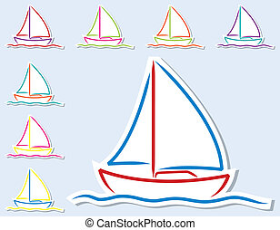 Yacht - Bright hand drawn boat stickers in vector format.