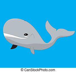 Whale - A vector illustration of a grey cartoon whale on...