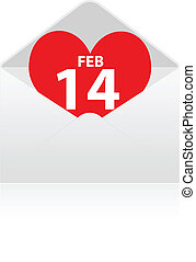 Red heart with 14 FEB in envelope - Red heart with 14 FEB in...